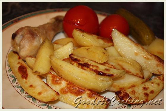 Картошка с золотистой корочкой в духовке рецепт 92