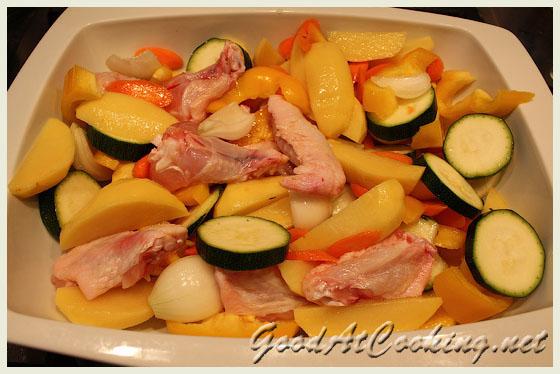 Рецепт куриных крылышек с овощами с фото