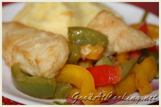 Рецепт жареной рыбы со сладким перцем с пошаговыми фотографиями