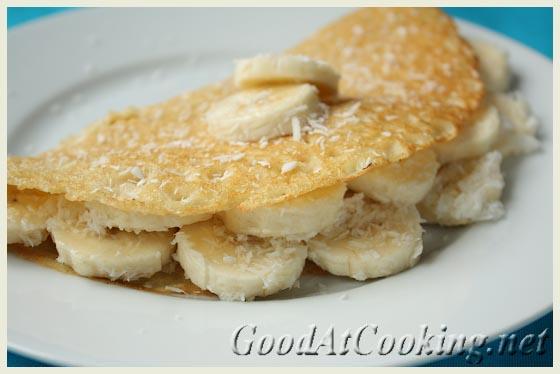 Рецепт кокосовых блинов с бананами с пошаговыми фотографиями