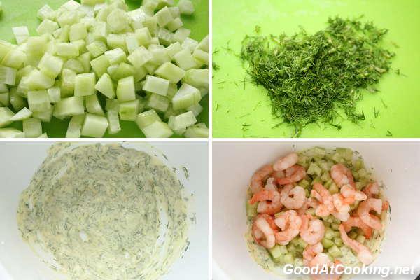 Рецепт огуречного салата с креветками с пошаговыми фотографиями