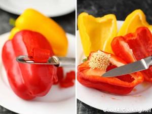 Рецепт сладкого переца с пармезаном в виде мозаики с фото