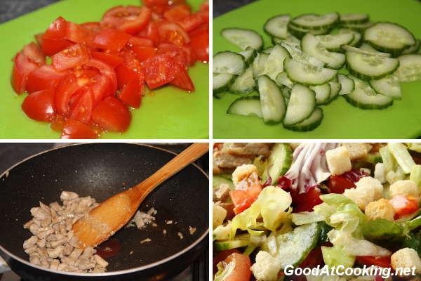 Рецепт мясного салата со свежими овощами с пошаговыми фото