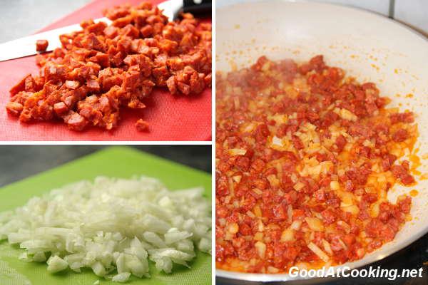 Рецепт кабачковых оладий с чоризо с пошаговыми фотографиями