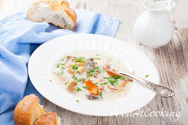 Рецепт грибного супа со сливками