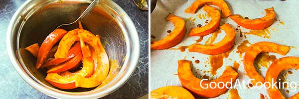 Рецепт запеченой пряной тыквы с козим сыром и мятой