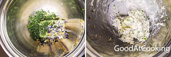 Сливочное масло с зеленью и съедобными цветами