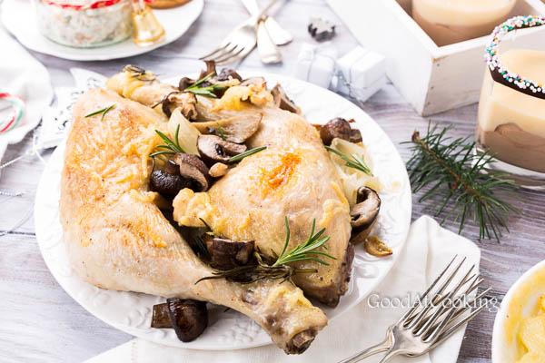 Курица с грибами и розмарином с пошаговыми фото